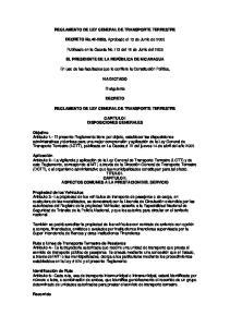 REGLAMENTO DE LEY GENERAL DE TRANSPORTE TERRESTRE. DECRETO No , Aprobado el 13 de Junio de 2005