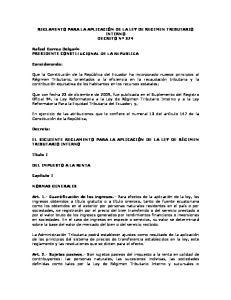 REGLAMENTO DE LEY REGIMEN TRIBUTARIO INTERNO