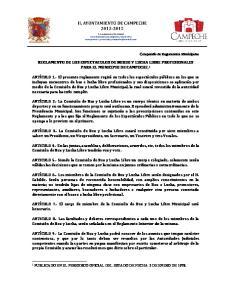 REGLAMENTO DE LOS ESPECTACULOS DE BOXEO Y LUCHA LIBRE PROFESIONALES PARA EL MUNICIPIO DE CAMPECHE. 1