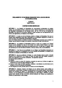 REGLAMENTO DE NORMAS COMUNES PARA LOS COLEGIOS DE BIOANALISTAS