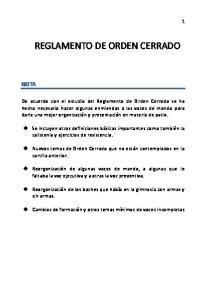 REGLAMENTO DE ORDEN CERRADO