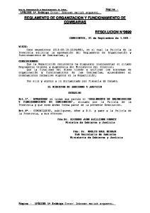 REGLAMENTO DE ORGANIZACION Y FUNCIONAMIENTO DE COMISARIAS