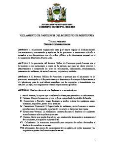 REGLAMENTO DE PANTEONES DEL MUNICIPIO DE MONTERREY