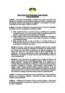 REGLAMENTO DE PENSIONES, JUBILACIONES Y PLAN DE RETIRO