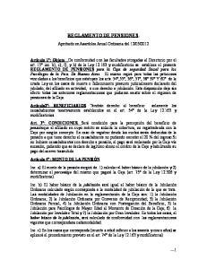 REGLAMENTO DE PENSIONES