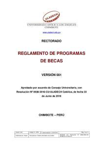 REGLAMENTO DE PROGRAMAS DE BECAS