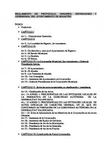 REGLAMENTO DE PROTOCOLO, HONORES, DISTINCIONES Y CEREMONIAL DEL AYUNTAMIENTO DE BIGASTRO