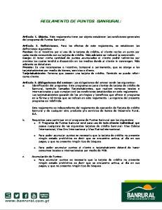 REGLAMENTO DE PUNTOS BANRURAL:
