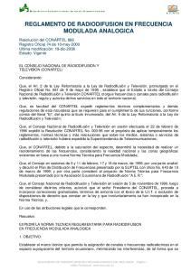 REGLAMENTO DE RADIODIFUSION EN FRECUENCIA MODULADA ANALOGICA