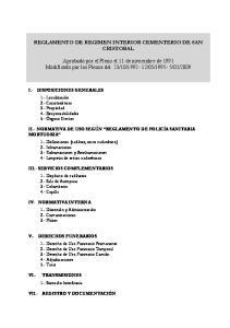 REGLAMENTO DE REGIMEN INTERIOR CEMENTERIO DE SAN CRISTOBAL