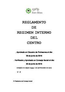 REGLAMENTO DE REGIMEN INTERNO DEL CENTRO