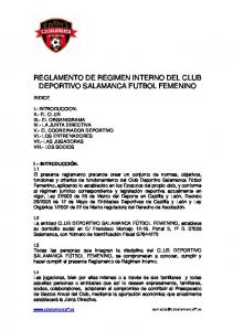 REGLAMENTO DE REGIMEN INTERNO DEL CLUB DEPORTIVO SALAMANCA FUTBOL FEMENINO