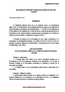 REGLAMENTO DE RÉGIMEN INTERNO DEL COLEGIO MAYOR SAN ISIDORO PREÁMBULO