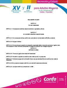 REGLAMENTO DE SAPO CAPITULO I DE LAS COMISIONES CAPITULO II DE LOS PARTICIPANTES E INSCRIPCIONES