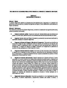 REGLAMENTO DE SEGURIDAD PARA LA PRESTACION DEL SERVICIO DE TURISMO DE AVENTURA CAPÍTULO I DISPOSICIONES GENERALES