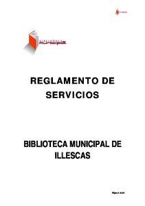 REGLAMENTO DE SERVICIOS BIBLIOTECA MUNICIPAL DE ILLESCAS