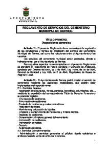 REGLAMENTO DE SERVICIOS DEL CEMENTERIO MUNICIPAL DE BORNOS