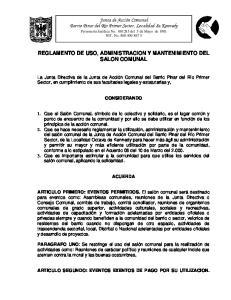 REGLAMENTO DE USO, ADMINISTRACION Y MANTENIMIENTO DEL SALON COMUNAL