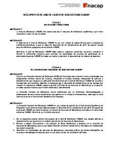 REGLAMENTO DE USO DE LA RED DE BIBLIOTECAS INACAP
