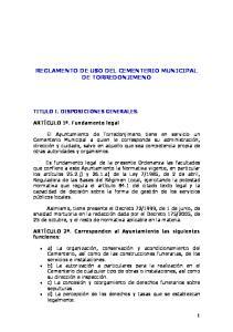 REGLAMENTO DE USO DEL CEMENTERIO MUNICIPAL DE TORREDONJIMENO