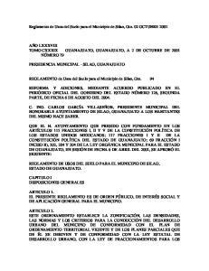 Reglamento de Usos del Suelo para el Municipio de Silao, Gto. 02 OCTUBRE 2001