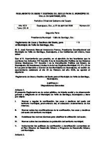 Reglamento de Usos y Destinos del Suelo, para el Municipio de Valle de Santiago, Gto