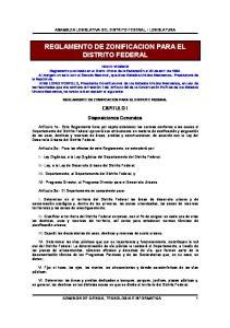 REGLAMENTO DE ZONIFICACION PARA EL DISTRITO FEDERAL