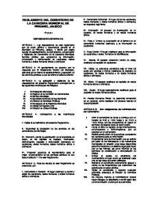 REGLAMENTO DEL CEMENTERIO DE LA CABECERA MUNICIPAL DE PIHUAMO, JALISCO