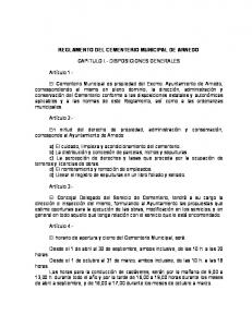 REGLAMENTO DEL CEMENTERIO MUNICIPAL DE ARNEDO CAPITULO I.- DISPOSICIONES GENERALES