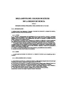 REGLAMENTO DEL COLEGIO DE JUECES DE LA REGION DE MURCIA