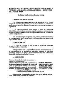 REGLAMENTO DEL CONCURSO-EXPOSICION DE AVES X FERIA DE LA GALLINA UTRERANA FERIA CONCURSO DE AVES DE RAZA. Del 21 al 25 de diciembre del 2