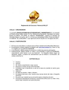 Reglamento del Concurso Herencia HALLS
