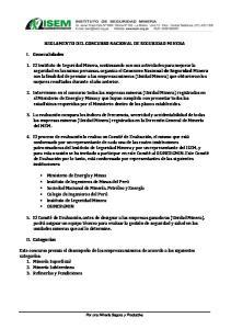 REGLAMENTO DEL CONCURSO NACIONAL DE SEGURIDAD MINERA