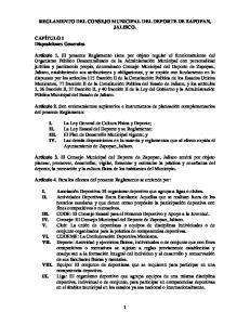 REGLAMENTO DEL CONSEJO MUNICIPAL DEL DEPORTE DE ZAPOPAN, JALISCO