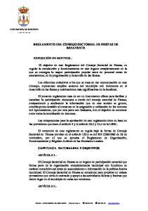 REGLAMENTO DEL CONSEJO SECTORIAL DE FIESTAS DE BENAVENTE