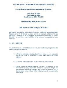 REGLAMENTO DEL DEPARTAMENTO DE DEPORTES NAUTICOS. Con modificaciones y adiciones aprobadas en Directorio:
