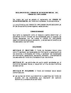 REGLAMENTO DEL FONDO DE BIENESTAR SOCIAL DEL FONDO DE EMPLEADOS