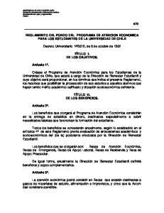 REGLAMENTO DEL FONDO DEL PROGRAMA DE ATENCION ECONOMICA PARA LOS ESTUDIANTES DE LA UNIVERSIDAD DE CHILE