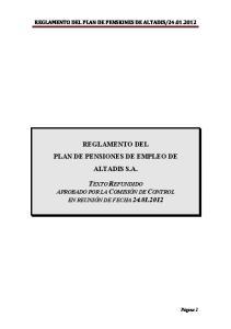 REGLAMENTO DEL PLAN DE PENSIONES DE EMPLEO DE ALTADIS S.A