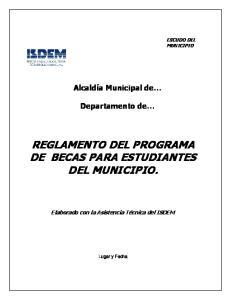 REGLAMENTO DEL PROGRAMA DE BECAS PARA ESTUDIANTES DEL MUNICIPIO