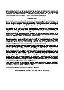 REGLAMENTO DEL REGISTRO CIVIL DEL ESTADO DE MEXICO