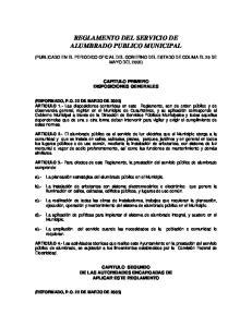 REGLAMENTO DEL SERVICIO DE ALUMBRADO PUBLICO MUNICIPAL