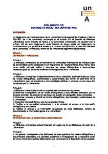 REGLAMENTO DEL SERVICIO DE BIBLIOTECA UNIVERSITARIA