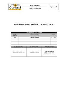 REGLAMENTO DEL SERVICIO DE BIBLIOTECA