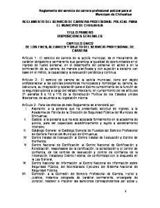Reglamento del servicio de carrera profesional policial para el Municipio de Chihuahua
