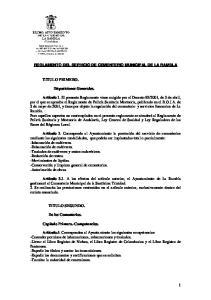 REGLAMENTO DEL SERVICIO DE CEMENTERIO MUNICIPAL DE LA RAMBLA
