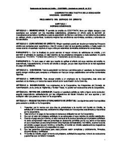 REGLAMENTO DEL SERVICIO DE CREDITO CAPITULO I NORMAS GENERALES