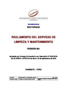 REGLAMENTO DEL SERVICIO DE LIMPIEZA Y MANTENIMIENTO