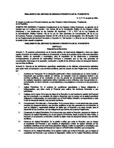 REGLAMENTO DEL SERVICIO DE MEDICINA PREVENTIVA EN EL TRANSPORTE
