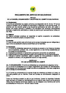 REGLAMENTO DEL SERVICIO DE SOLIDARIDAD